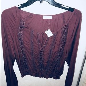 A Burgundy crop top